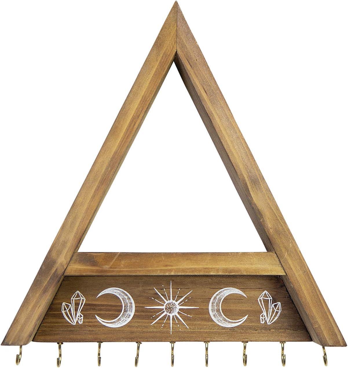 Stratton Home Decor Wooden Triangle Shelf Coat Hooks, Small, Brown