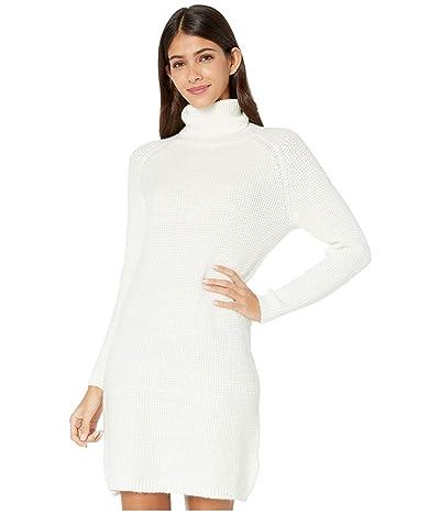 kensie Soft Fuzzy Knit Long Sleeve Sweater Dress KSDK8386 (Ivory Cloud) Women