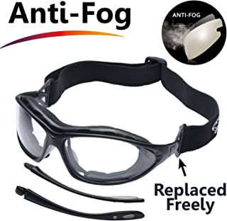 SAFEYEAR Anti Fog Safety Glasses- SG002 Clear Scratch Resistant Work Glasses for Men and Women No-Slip Grips, VU Protection Safety Goggles for DIY, Lab, Welding, Grinding, Chemistry