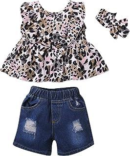 SANMIO 3 Pcs Vêtements Bébé Fille 1-4 Ans Manche Courte Haut + Pantalon en Jean Déchiré Short + Bandeau Enfants Tenues Set