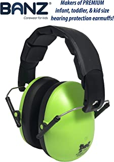 BANZ Kids Headphones – Hearing Protection Earmuffs For Children – ADJUSTABLE headband to fit all ages – Protect Kids Ears – Block Noise – Fireworks – Sporting Events – Concerts – Movies (Lime)