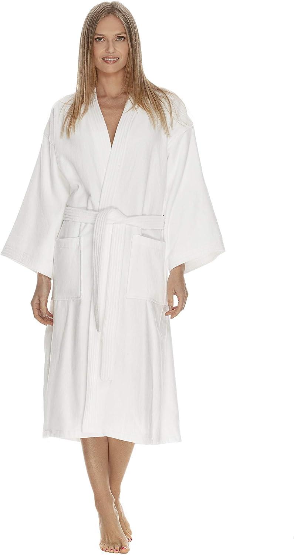 Boca Terry Bathrobe Kimono Bathrobe White  One Size Fits All and XXL