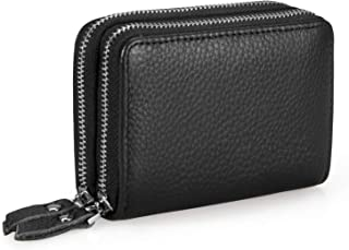 Women's Double-Zip Around Wallet RFID Blocking Credit Card Organizer Compact Small Leather Purse