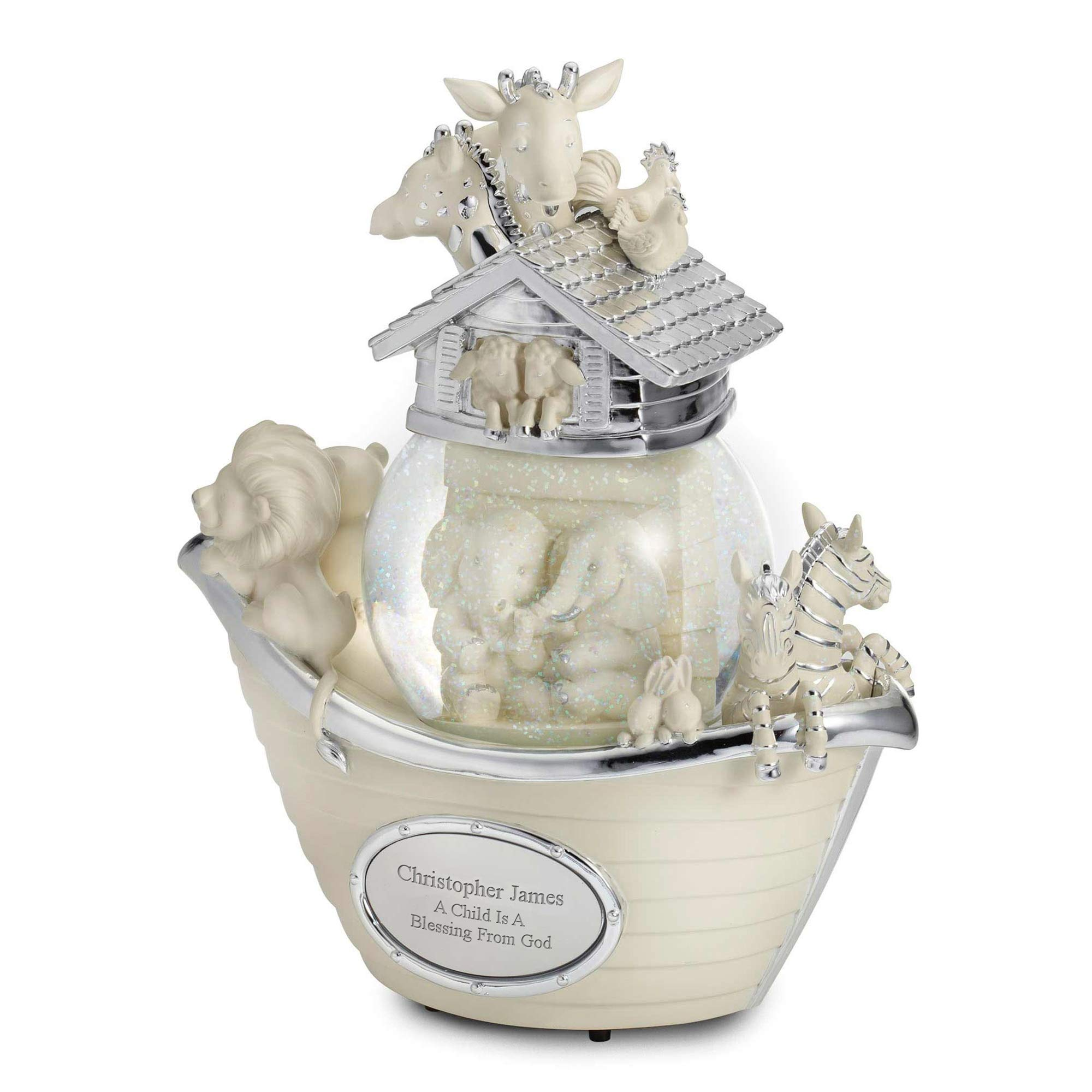 Image of Personalized Noahs Ark Musical Snow Globe for Children