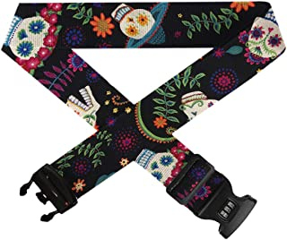 TSA Approved Lock Travel Bag Accessories,1-Pack Adjustable Luggage Belt for 20-32 Suitcase Guitar Pepper Sugar Skull GLORY ART Suitcase Straps