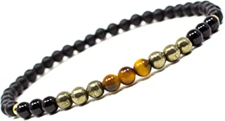 Azenway Intention Charged Healing Crystal Bracelet - Natural 4mm Gemstone with 14k Gold Filled Beads, Stretch Cord & Gift ...