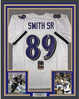 Framed Autographed/Signed Steve Smith Sr. 33x42 Baltimore White Football Jersey JSA COA