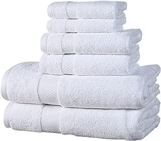Affinity Home Collection ESP6PCTWL-WHT 6 Piece Elegance Spa Luxurious Cotton 600 GSM Towel Set, White
