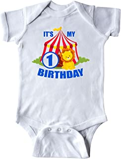 inktastic Its My Birthday Circus Tent with Lion 1 Year Old Infant Creeper