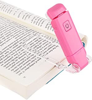 DEWENWILS USB Rechargeable Book Reading Light, Warm White, Brightness Adjustable, LED Clip on Book Lights for Reading in Bed, Car Reading Light for Kids, Bookworms, Pink