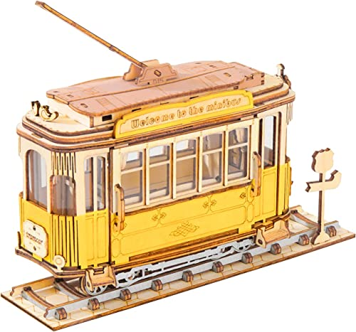 lowest Rolife Build Your Own 3D online Wooden Assembly Puzzle Wood Craft Kit Model, wholesale Gifts Kids Adults(Tramcar) online