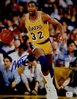 efd051a41efd Magic Johnson Signed Autograph 8x10 Photo LA Lakers Dribbling Right Leg GAI  COA