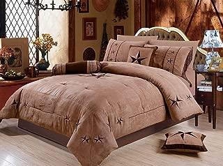 Rustic 7 Piece Luxury Beautiful Embroidery Western Texas Lone Star Lodge Oversize Micro Suede Comforter Set Light Dark Brown Bedding Set (Queen)