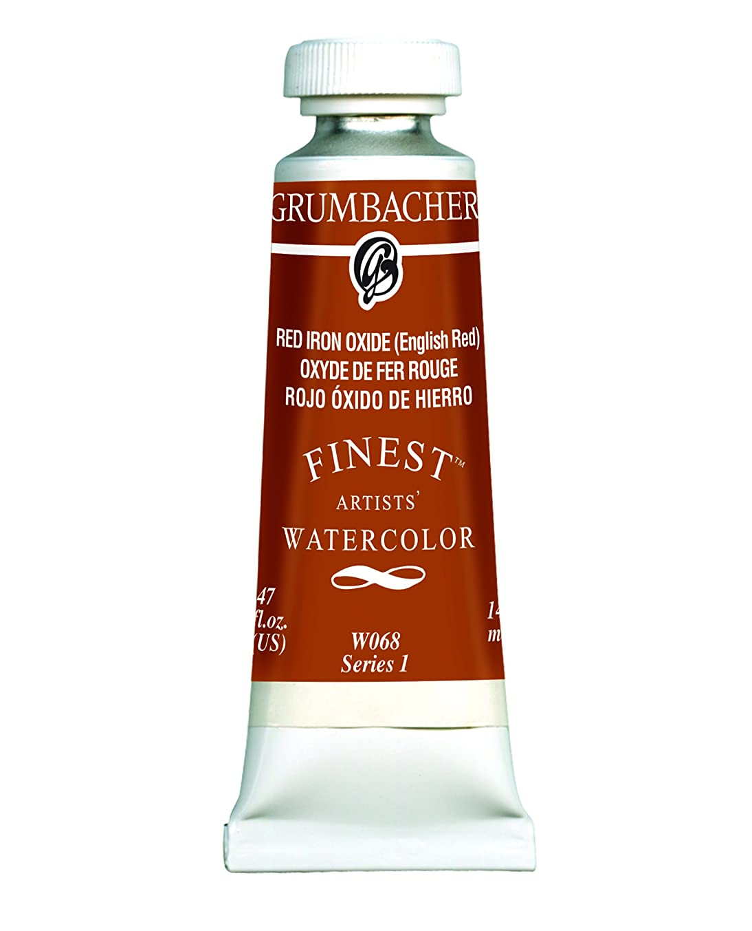 Grumbacher Finest Watercolor Paint, 14 ml/0.47 oz, Red Iron Oxide (English Red)