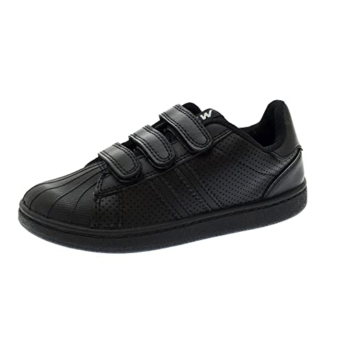ec563984202f NEW KIDS BOYS GIRLS BLACK SCHOOL SHOES TRAINERS PUMPS FOOTBALL TENNIS Hook  And Loop STRAPS SIZE