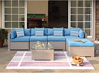 COSIEST 6-Piece Outdoor Furniture Set Warm Gray Wicker Sectional Sofa w Heritage Blue Cushions, Glass Coffee Table, 4 Stripe Woven Pillows for Garden, Pool, Backyard