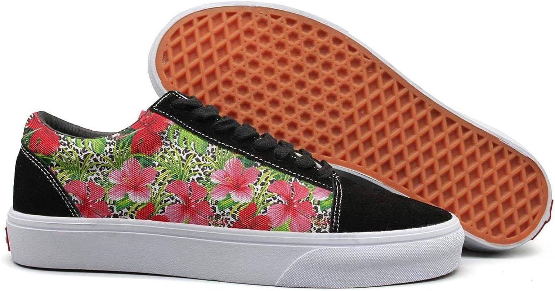KSOWE3KD Woman Mens' Low Cross Work shoes Tropical Flower Hawaiian Fashion Unisex Athletic shoes
