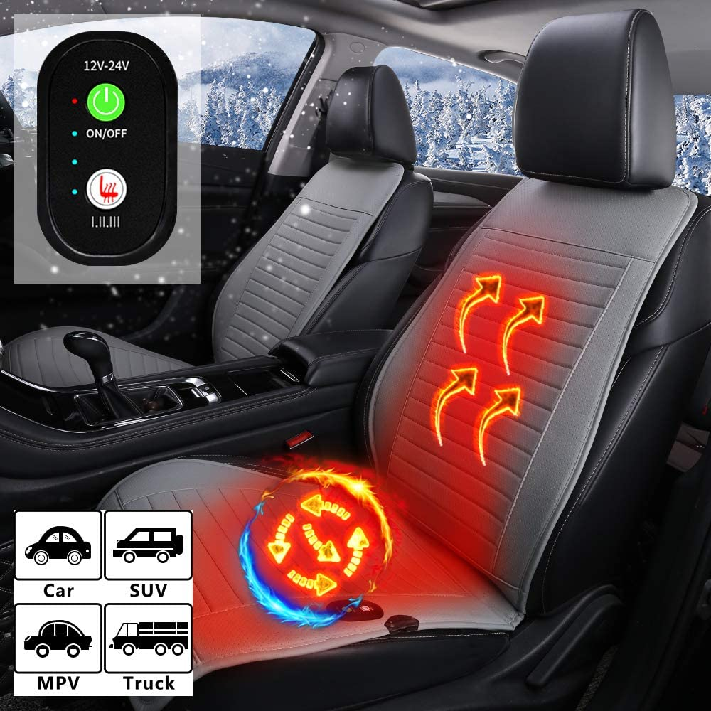 Soothing Heat Seat Heater for Front Chair Leatheret Black Auto Shutoff Heating Setting ASTRYAS 12V // 24V Seat Cushion Cover Universal Seat Warmer with 3 Levels Safety