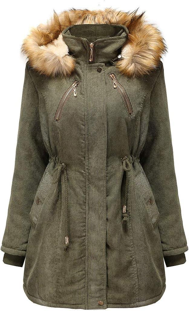 Eduavar Womens Winter Warm Coat Thicken Fleece Lined Hooded Parkas Faux Fur Parka Coats Oversize Long Jacket Outwear