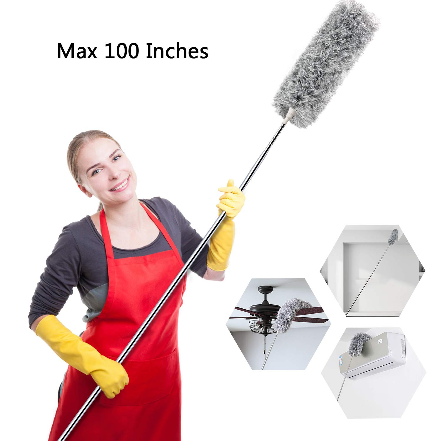 Microfiber Cleaning Extension Stainless Extendable