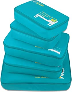 GOX Ultra Light 5 piece Packing Cubes Travel Luggage Organizers 1 Large 2 Medium 2 Small (Turquoise)