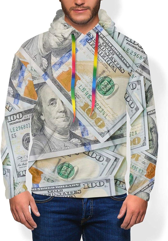 New 100 Dollar Bills Money Men'S Hoodie Pullover Fleece Sweatshirt Soft Warm Boys' Jacket