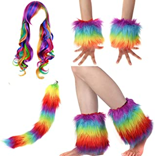 Adult Rainbow Costume Sets Wave Wig Long Gloves Stockings Tail Tutu Skirt Feather Headband