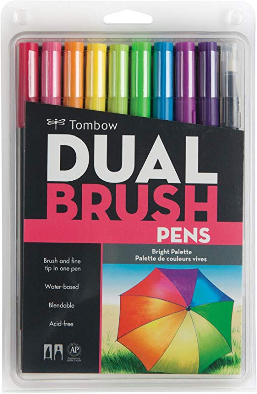 Tombow 56185 Dual Brush Pen Art Markers Bright 10 Pack Blendable Brush And Fine Tip Markers