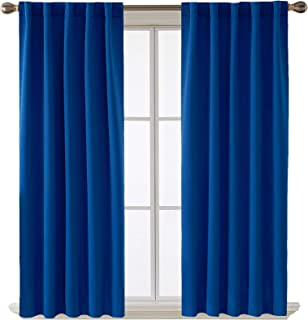 Deconovo Rod Pocket and Back Tab Blackout Curtains for Bedroom Solid Room Darkening Curtains 42x63 Inch Royal Blue 2 Panels