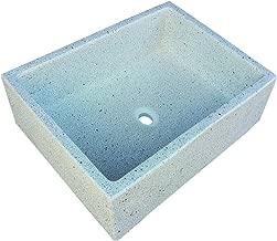 Terrazos Cantalejo Plión Fregadero o Pila de Piedra parecida al Granito o mármol de 55 x 45,5 x 20,5 cm. (Blanca)