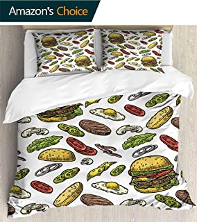PRUNUSHOME Sleep Restoration Luxury Bed Sheets Burger redients Include Cutlet Tomato Cucumber sala Vintage Cool Breathable King