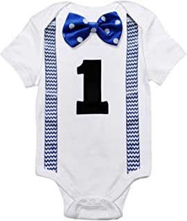 Baby Boys' Funny First Birthday Bow Tie Infant Romper Bodysuit