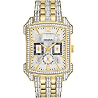 Bulova Men's Crystal 98C109 Silver Stainless-Steel Quartz Watch