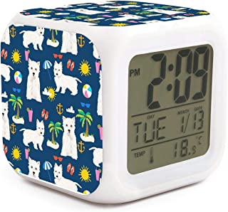 seuiop Westie Dogs On Beach Palm Alarm Clock Travel 7 Color Soft Night Light Emperature Display Sleep Timer LED Night Glowing Cube Fit Birthday Gifts for Kids