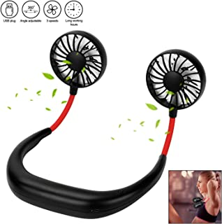 EXTSUD Ventilador de Cuello Mini Ventilador Portátil USB Ventilador Plegable Silencioso Deportivo (Negro)