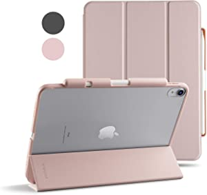TineeOwl Mocha iPad Air 4 Case 2020 (4th Generation) 10.9 Ultra Slim Matte Case with Pencil Holder + Tri-fold Smart Cover, Absorbs Shock, Lightweight (Pale Pink)
