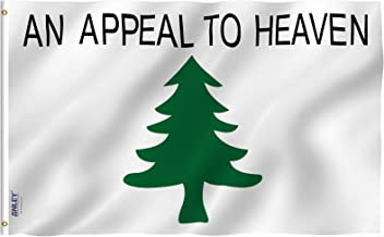 Anley Fly Breeze 3x5 Foot an Appeal to Heaven Flag - Vivid Color and UV Fade Resistant - Canvas Header and Double Stitched - Pine Tree Flags Polyester with Brass Grommets 3 X 5 Ft