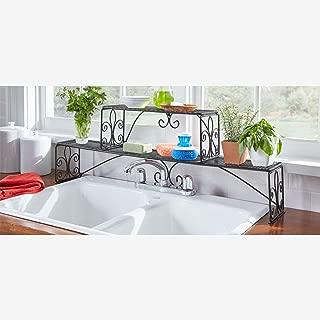 Brylanehome Scroll 2-Tier Over Sink Shelf, Black