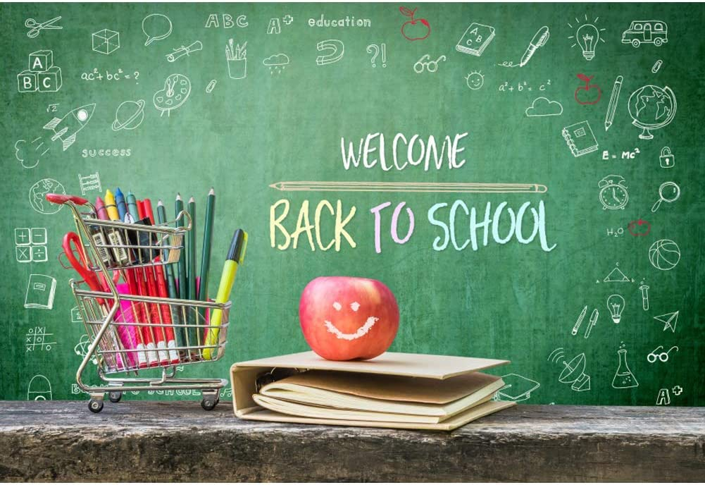 Welcome Back Kids Pupils Background Colorful Balloons Blackboard Photography Backdrop for Back to School Party Photo Booth Studio Props LYLU1000 9x6FT