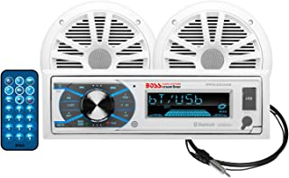 BOSS Audio Systems MCK632WB.6 Receiver Package-Bluetooth Audio, USB, MP3, AM FM, Aux-in, no CD Player, 6.5 Inch Weatherproof Speakers, Marine Dipole Antenna