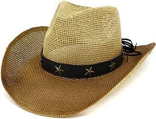 Sun Hat for men and women Women Men Western Cowboy Hat Women Outdoor Beach Hat Visor Painted Copper Five-pointed Star Decoration Cowboy Straw Hat Sunbonnet