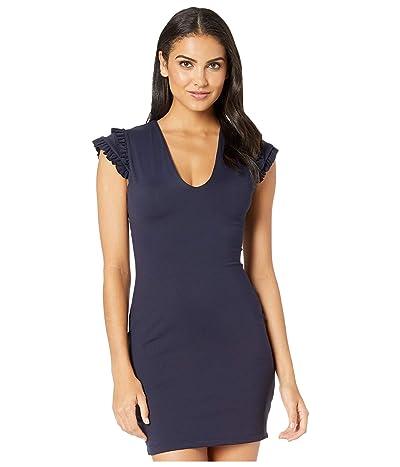 Susana Monaco Structured Ruffle Cap Sleeve Plunge Dress (Pine Needle) Women