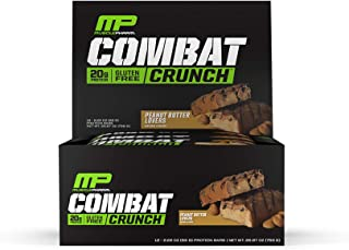 MusclePharm Combat Crunch Protein Bar, Multi-Layered Baked Bar, Gluten-Free Bars, 20 g Protein, Low-Sugar, Low-Carb, Gluten-Free, Peanut Butter Lovers Bars, 12 Servings