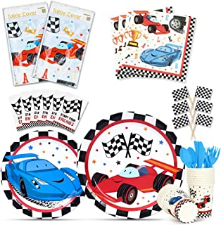WERNNSAI Racing Car Tableware Set - Race Car Party Supplies for Boys Disposable Dinner Dessert Plates Napkins Cups Tablecloth Cupcake Toppers Utensils Serves 16 Guests 180 Pieces