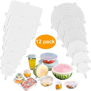 EEEKit Silicone Stretch Lids, [12 Pack] Reusable Lids Fit Various Sizes & Shapes of Containers, Durable & Expandable Food Covers to Keep Food Fresh, Silicone Bowl Covers, Dishwasher & Freezer Safe