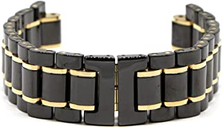 22MM Black and Gold Ceramic/Stainless Steel 7 Inches Watch Strap Bracelet Fits 46mm Identity Watch