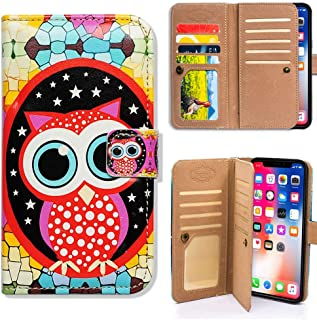 Bfun Packing iPhone XR Case,Bcov Colorful Cute Owl Multifunction Flip Folio Wallet Leather Cover Case with ID Card Credit Card Slot Holder Money Pocket for iPhone XR