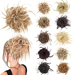 Messy Bun Hair Pieces for Women Tousled Updo Curly Wavy Scrunchie Hair Bun with Elastic Band Synthetic Chignon Instant Hai...
