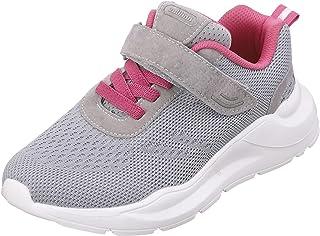 Black Stripes Upper Mesh Front Velcro Strap Contrast Sole Sneakers For Women 37
