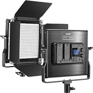 Neewer アドバンスド660 LEDビデオライト 調光可能な二色LEDパネル 液晶画面有り 660個ビーズ CRI 96+、耐久性のある金属製 U型ブラケットとバーンドア付き ポートレート、商品撮影、スタジオビデオ撮影用